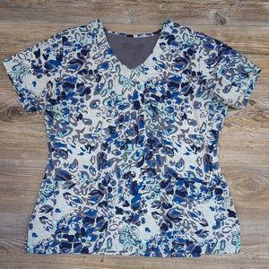 Greys Anatomy Blue Floral Scrub Top
